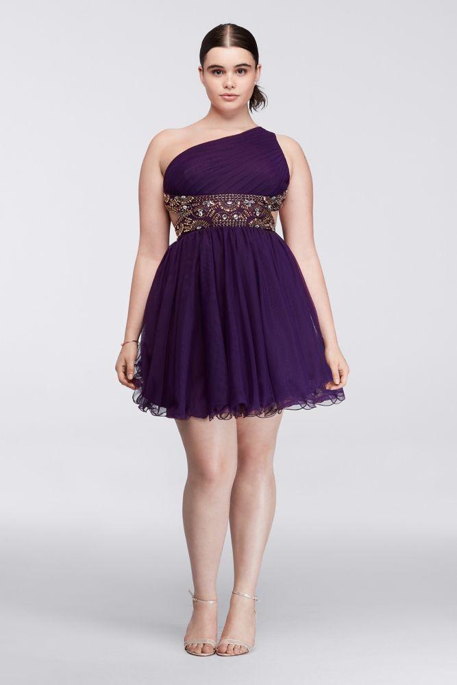Plus Size Short Dress with Metallic Bodice - Eggplant (Purple), 17 ...