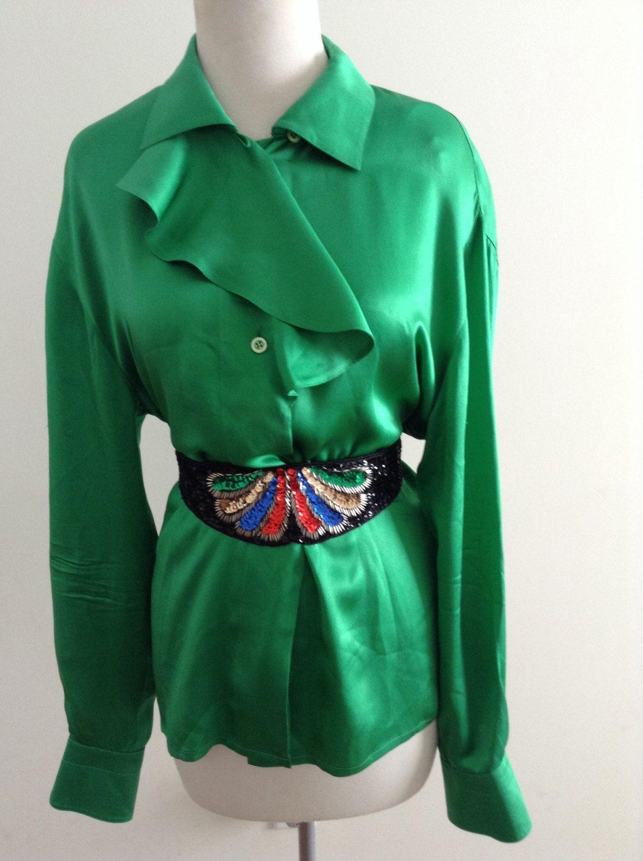 c30ba2fa65e42c Vintage 80s 90s ESCADA Green Silk Ruffle Blouse / Amazing Vintage ESCADA  Designer Emerald Silk Shirt Top by TheUnordinaryVintage on Etsy