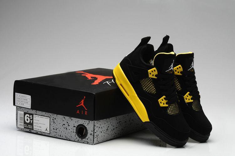 new concept 909b7 f3ff2 Air Jordan 4 Retro Thunder Black White Tour Yellow Womens Shoes
