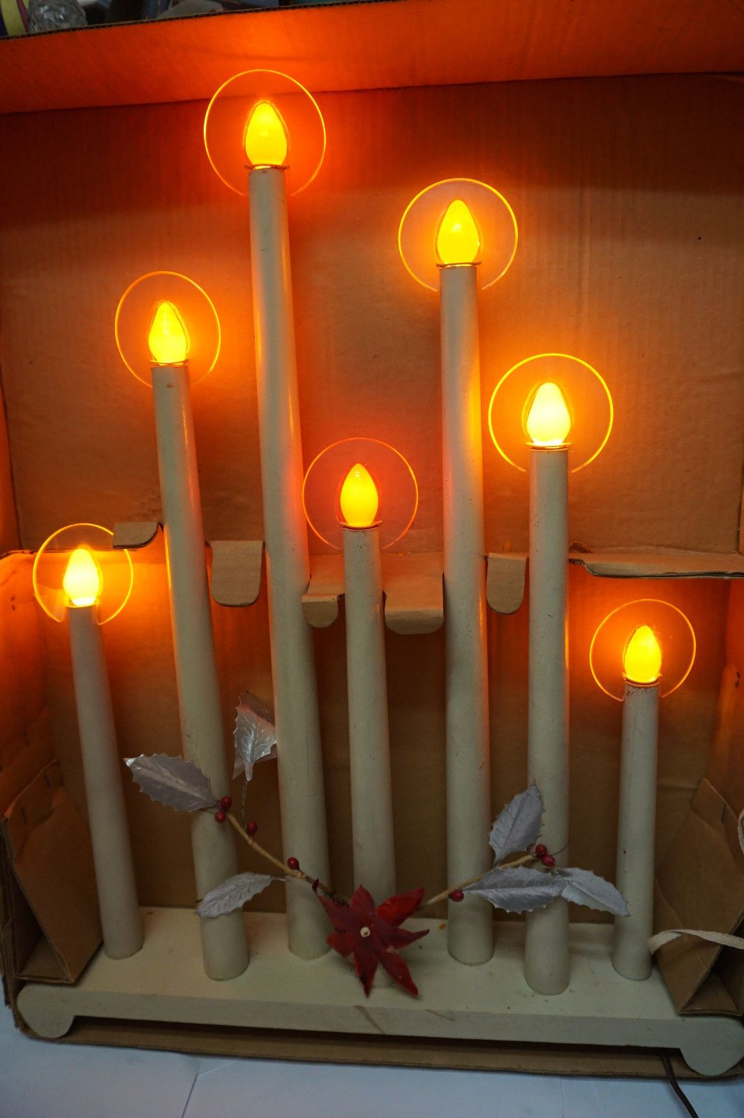 vintage noma christmas lights halo candolier rare 7 light window candle box 30s