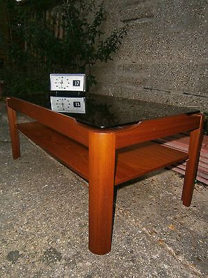 Myers Co 1970s Teak Smoked Glass Coffee Table Retro Mid Century Danish Style Danish Style Teak Mid Century