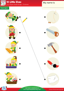 What are the 10 little elves doing Look at the picture of the