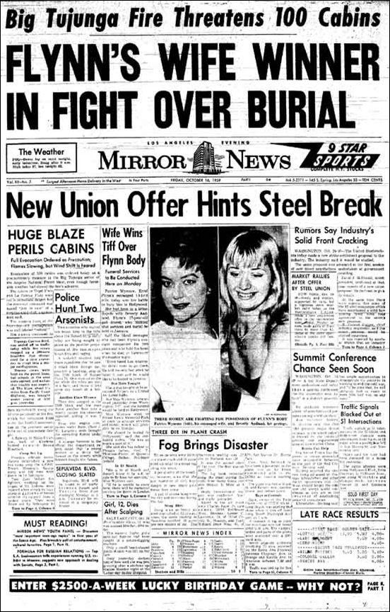 Errol Flynn Daughters Oct. 16, 1959 Errol Flynn's