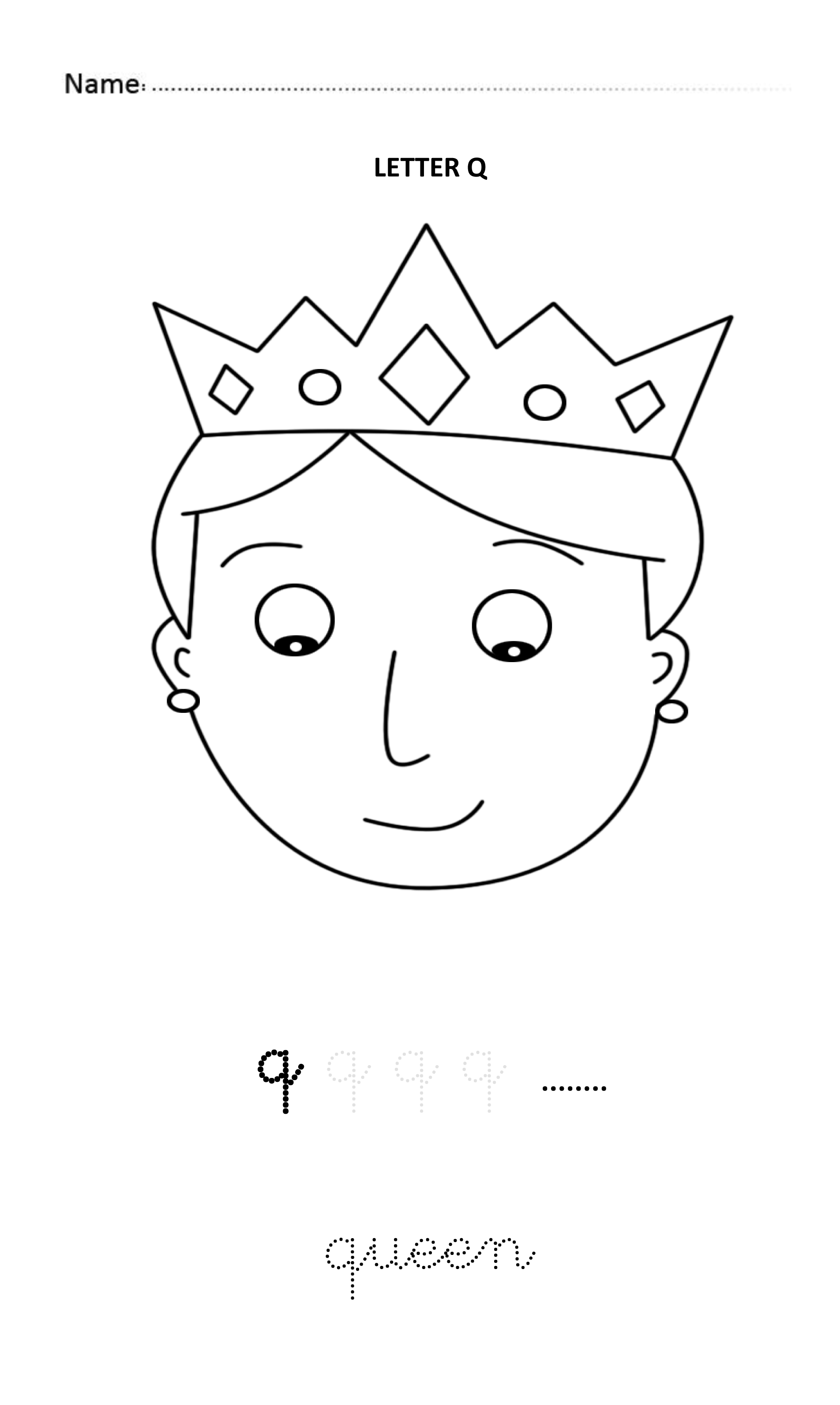 Letter Q Easy And Visual Colouring Worksheet For Early