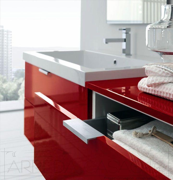 Arredo Bagno moderno rosso basi 2 cassetti Ly01 Prezzo