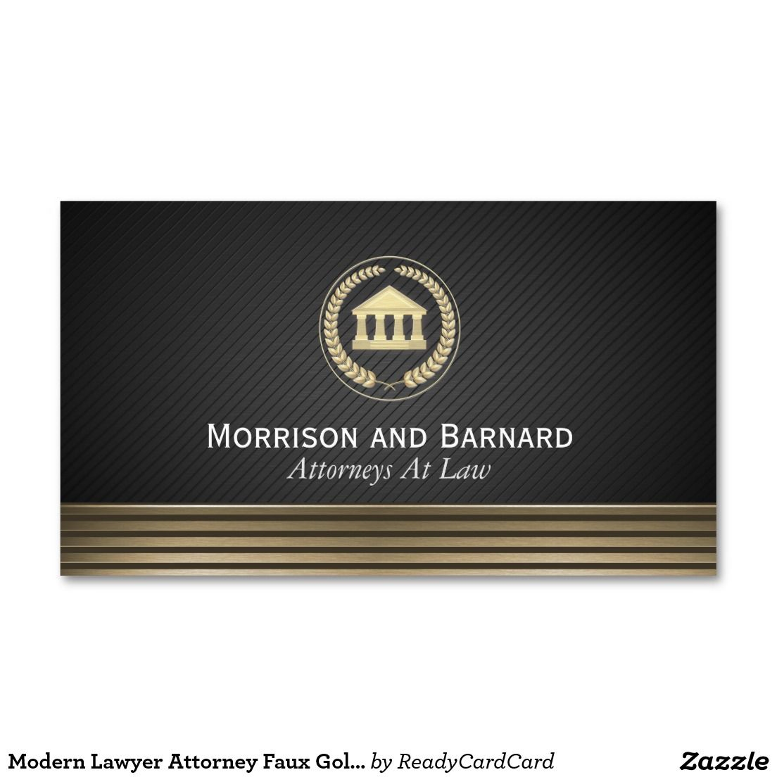 Modern Lawyer Attorney Faux Gold Courthouse Business Card ...