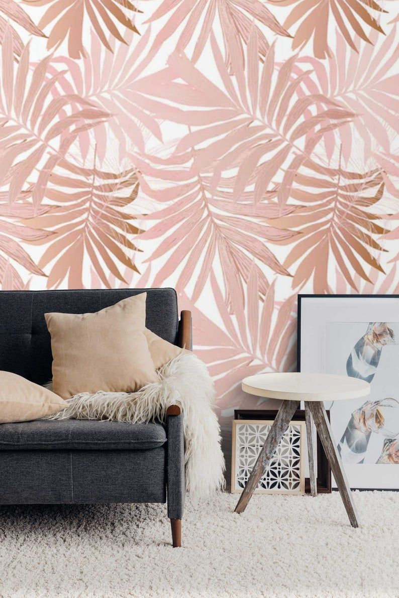 Removable Wallpaper Palm Leaves Peel And Stick Wallpaper Blush Etsy In 2021 Wallpaper Accent Wall Removable Wallpaper Watercolor Wallpaper