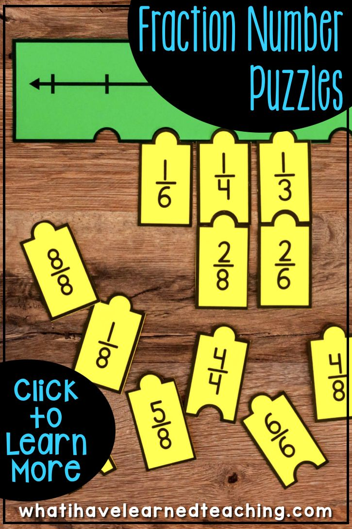 Engage students with a variety of Fraction Number Puzzles that provide practice with equivalent fractions, comparing fractions, and placing fractions on a number line. These are great for math stations or math centers. #thirdgrademath #thirdgradefractions