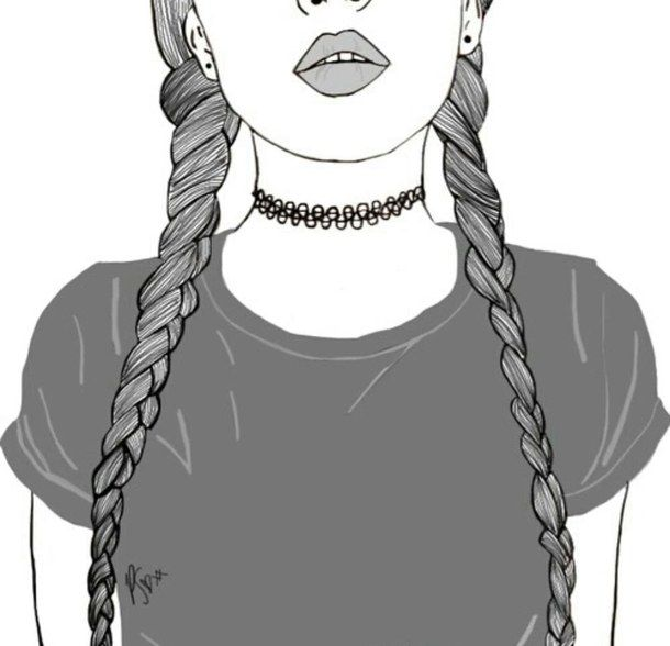 Braids Drawing Girl Lips Outline Outlines Tumblr