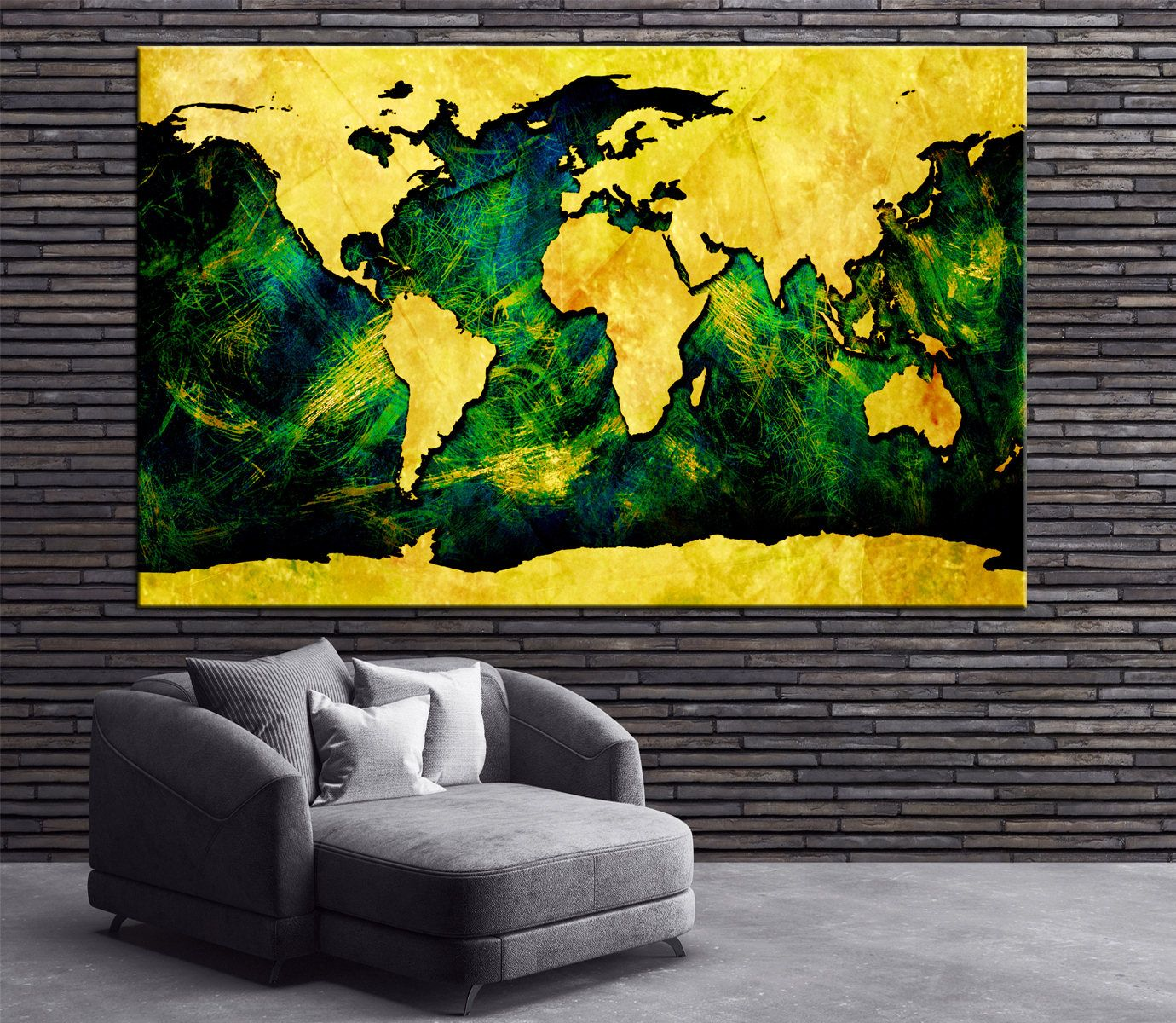 Large colorful abstract world map canvas panels set ready to hang large colorful abstract world map canvas panels set ready to hanggold and green world map print 1234 or 5 panels on canvas wall art by gumiabroncs Image collections