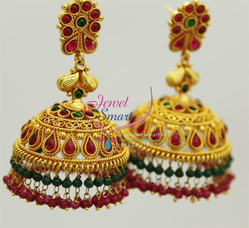 J1605 Broad Grand Gold Design Temple Kempu Ruby Emerald Beads ...