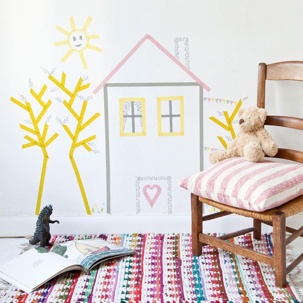 une d co murale en masking tape vous souhaitez offrir vos enfants une d coration originale. Black Bedroom Furniture Sets. Home Design Ideas