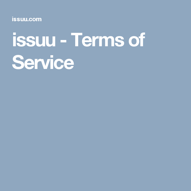 issuu - Terms of Service