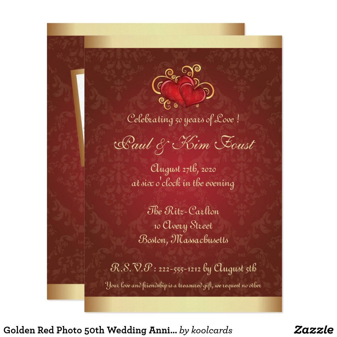 Golden Red Photo 50th Wedding Anniversary Invite Zazzle Com 50th Wedding Anniversary Wedding Anniversary Party Invitations Golden Wedding Anniversary Party