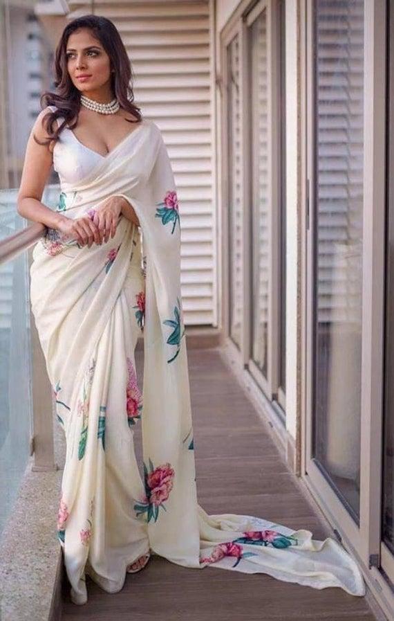 Traditional Japan Satin Saree work Printed saree sari Saree With Pearl Lace saree For Women Wedding Wear Party saree Indian Bollywood sarees