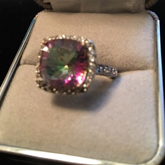 Mystic topaz in silver plated setting Well-loved. Band shows some wear. Size 8 1/2 Jewelry Rings