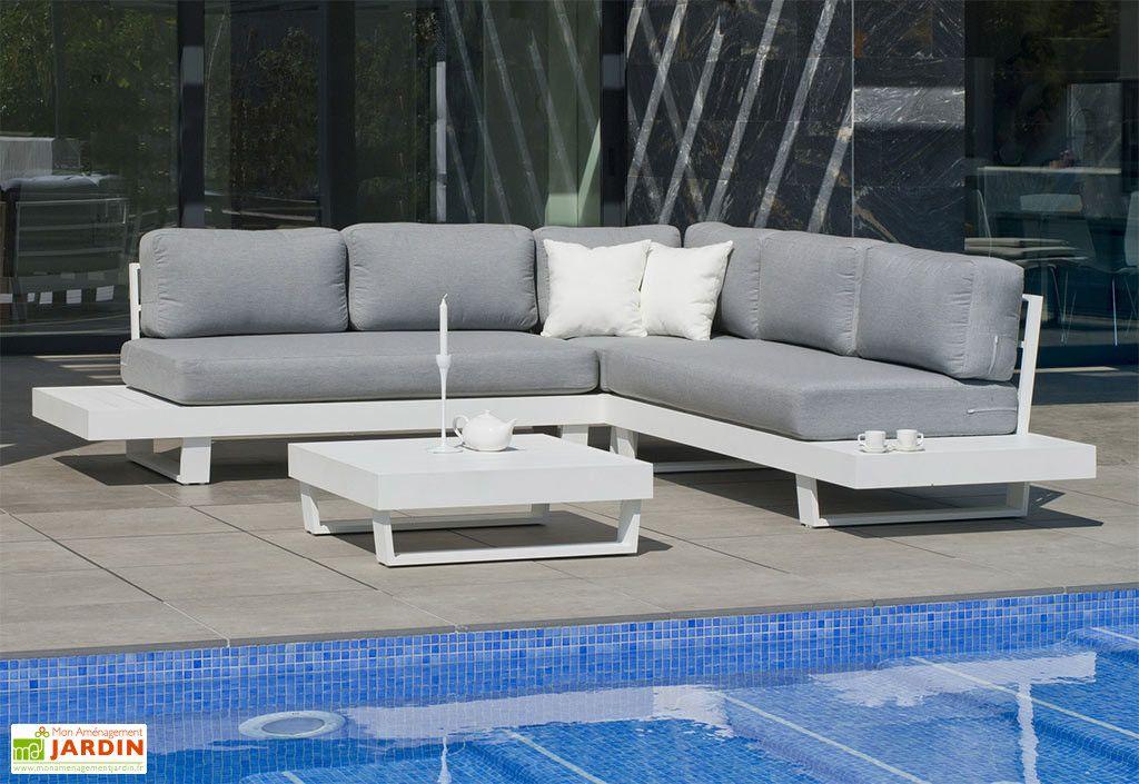 Salon de Jardin en Aluminium Anastacia : 1 Canapé d\'Angle et ...