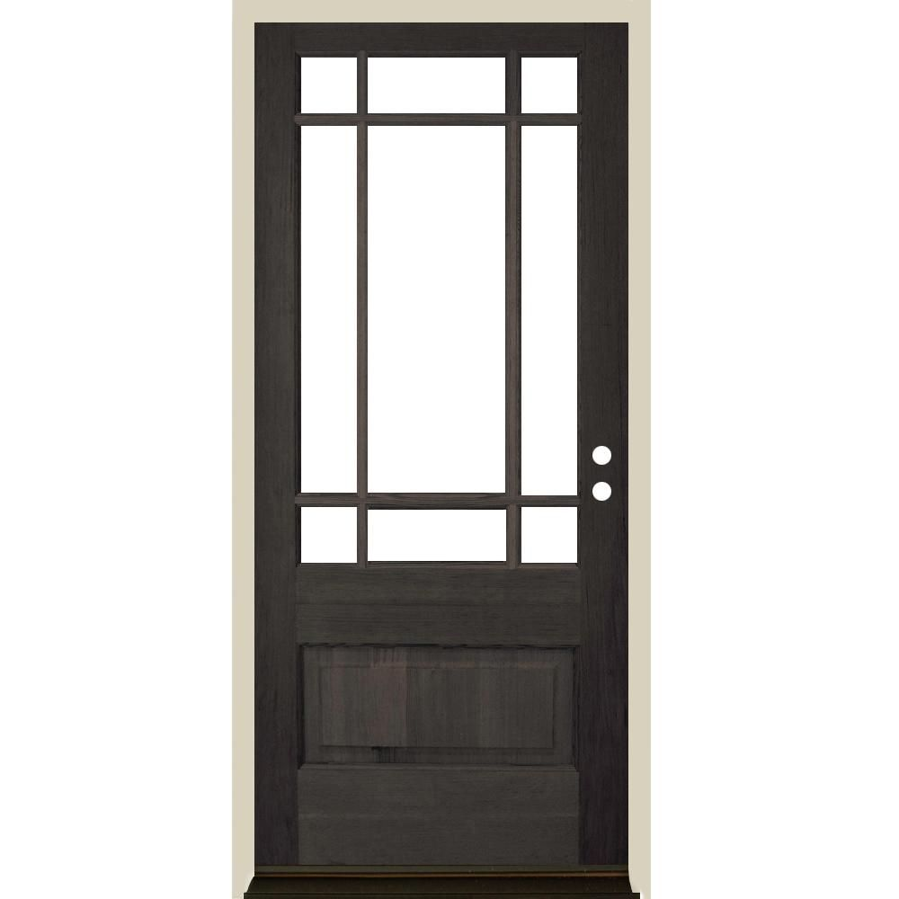 Krosswood Doors 36 In X 80 In Craftsman Prairie 3 4 Lite Black Stain Left Hand Inswing Douglas Fir Prehung Front Door Phed Df 439 30 68 134 Lh 512 Black The Front Doors With Windows Entry Doors With Glass Glass Entrance