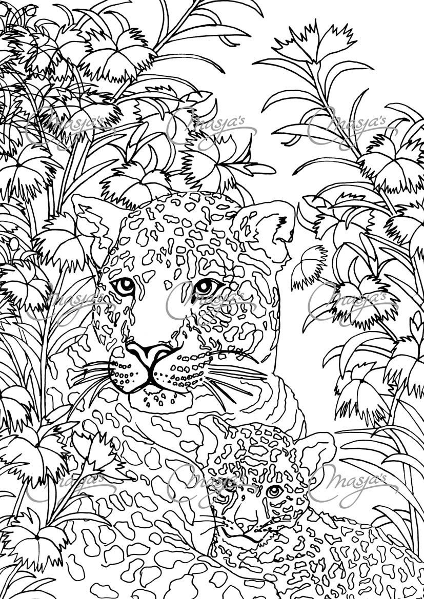 Masja S Leopards Coloring Page Ot Masjasartwork Na Etsy Coloring Pages Animal Coloring Pages Colouring Pages [ 1169 x 827 Pixel ]