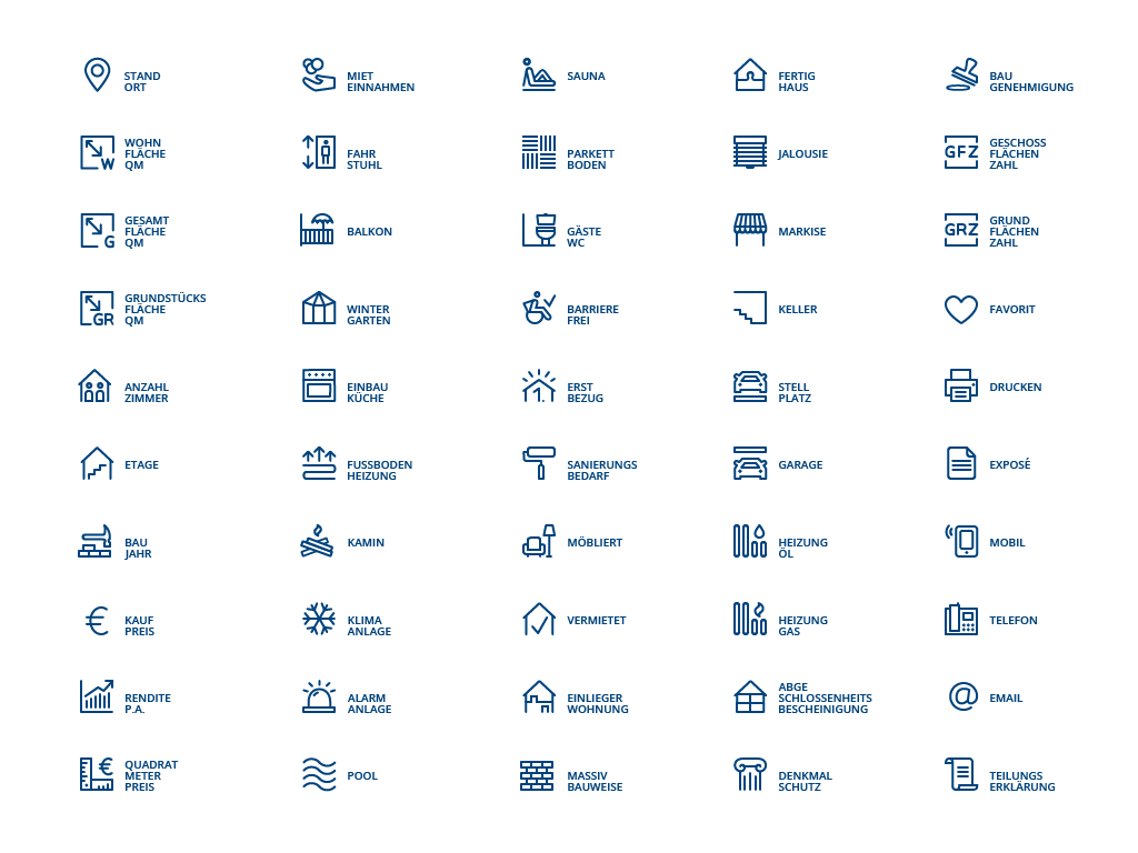 Irene Sackmann – Icon Design  50 icons für die immobilienbranche | kunde: BBI Immobilien GmbH  #icons #iconset #icondesign #iconography #icon #symbol #outline #line #picto