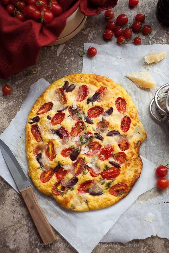 Cherry Tomato, Olive and Thyme Focaccia Bread (Gluten Free and Grain Free)