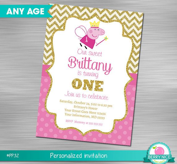 Peppa Pig Invitation DIY Birthday By Berryniceprintables