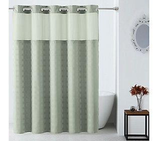 Hookless Checkered Jacquard Shower Curtain With Built In Liner