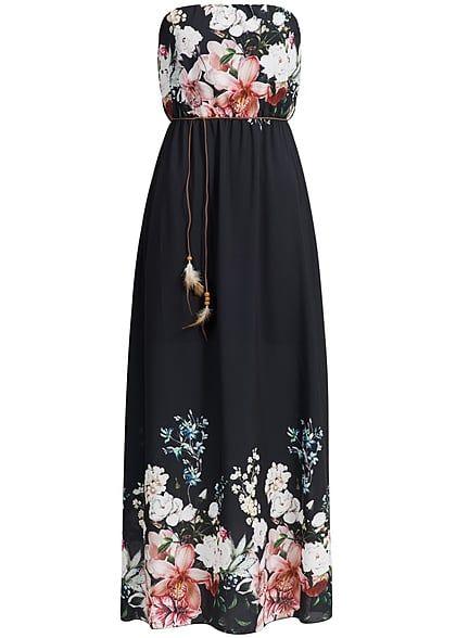 Styleboom Fashion Damen Bandeau Kleid Longform Blumen Muster Bindegurtel Schwarz Kleider Bandeau Kleid Bandeau Kleid Lang