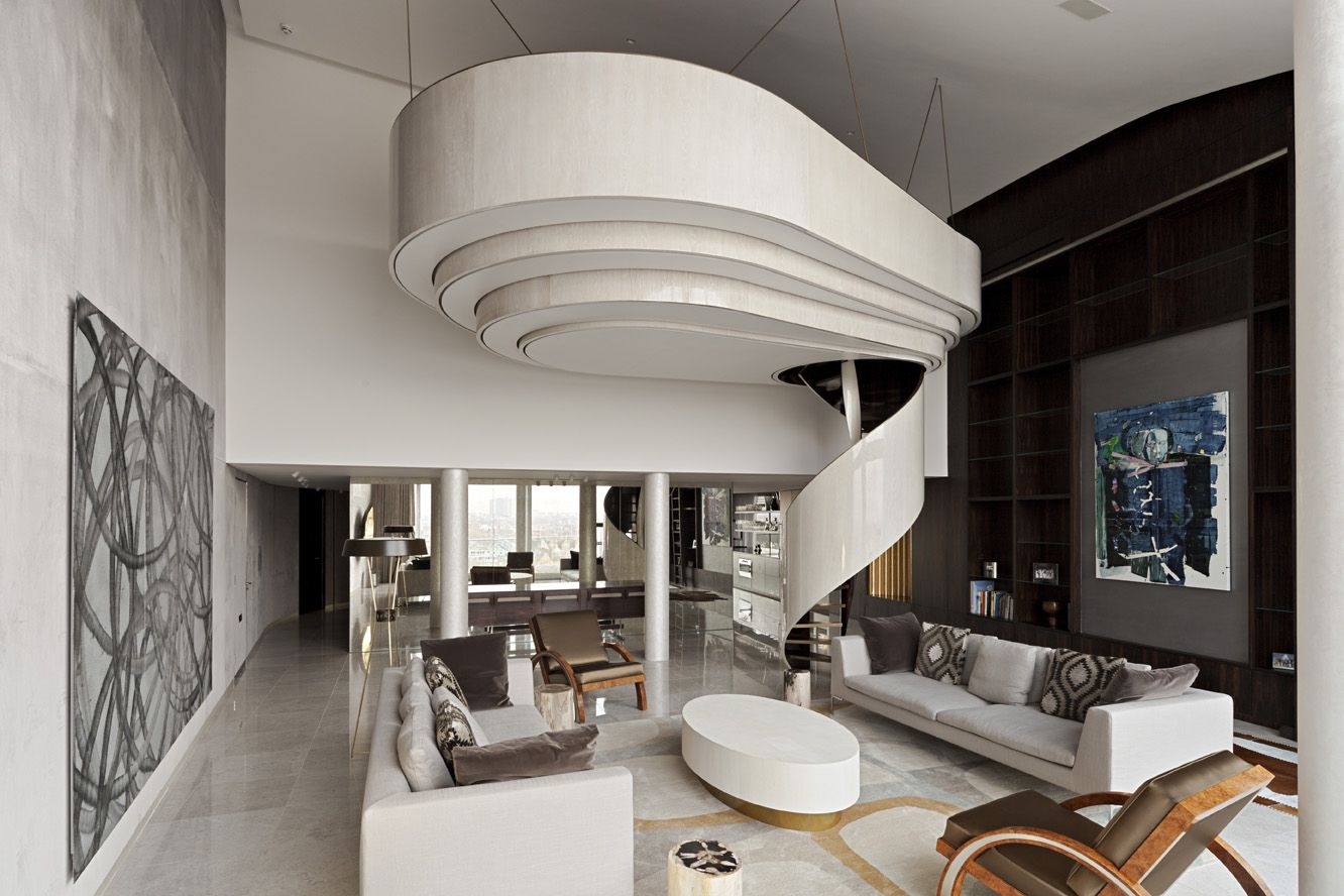 Refurbishment of a riverside penthouse apartment with views across London.  The design creates an eclectic