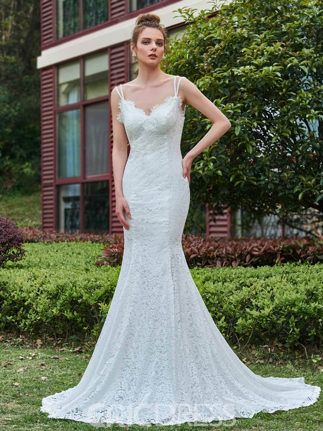 Mermaid Lace Spaghetti Straps Backless Wedding Dress | Backless ...