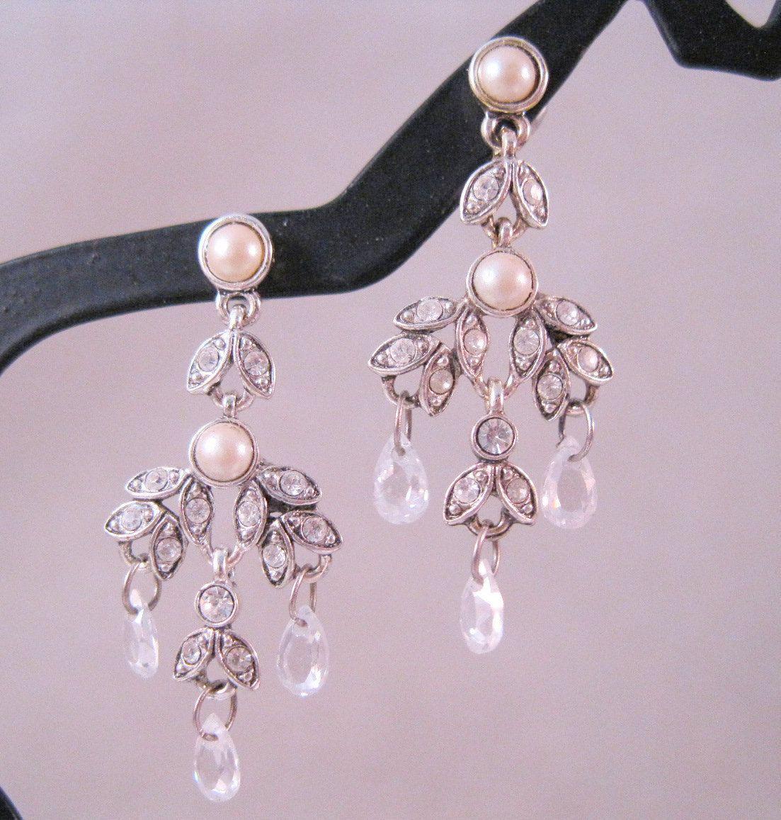 14 99 Vintage Monet Chandelier Earrings Pierced Crystal Pearl Rhinestone Bridal Jewelry Jewellery By Brighteyestreasures On Etsy