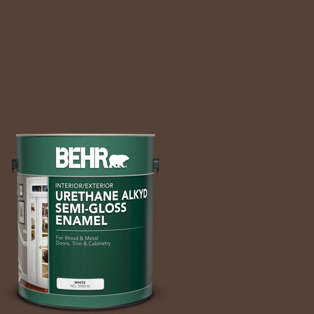 BEHR 1 gal. #PFC-25 Dark Walnut Urethane Alkyd Semi-Gloss Enamel Interior/Exterior Paint-393001 - The Home Depot