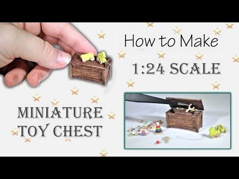 Miniature Toy Chest Tutorial (opens and closes!) | Dollhouse | How to Make 1:24 Scale DIY - YouTube #dollhouseminiaturetutorials