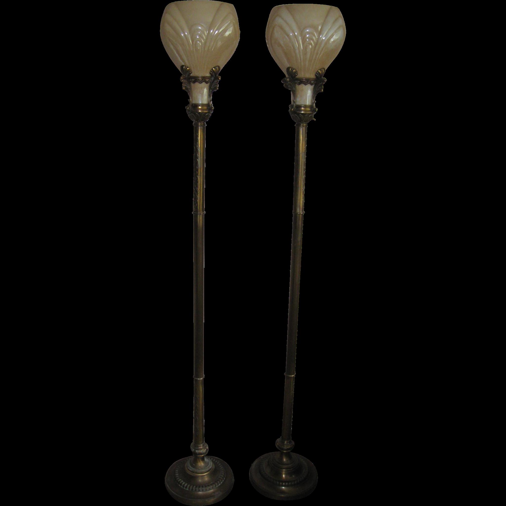 SALE Pair of American Deco Torchiere Floor Lamp's