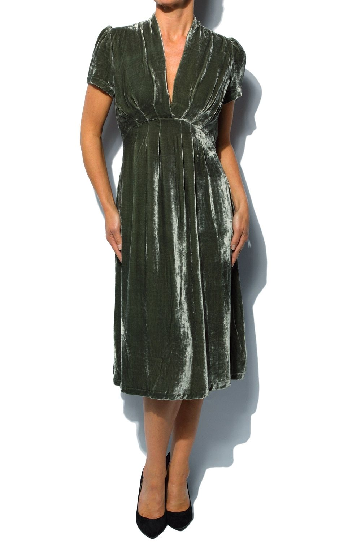 Vintage Sage Green Velvet Dress Velvet Clothes Green Velvet Dress Velvet Dress [ 1500 x 1000 Pixel ]