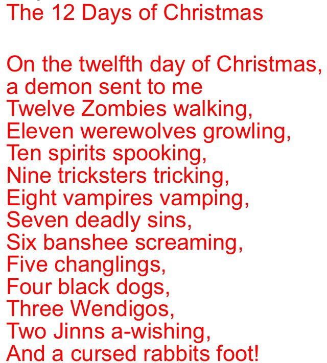 12 Days Of Christmas Parody.Supernatural Christmas Carol Being A Geek Means Never