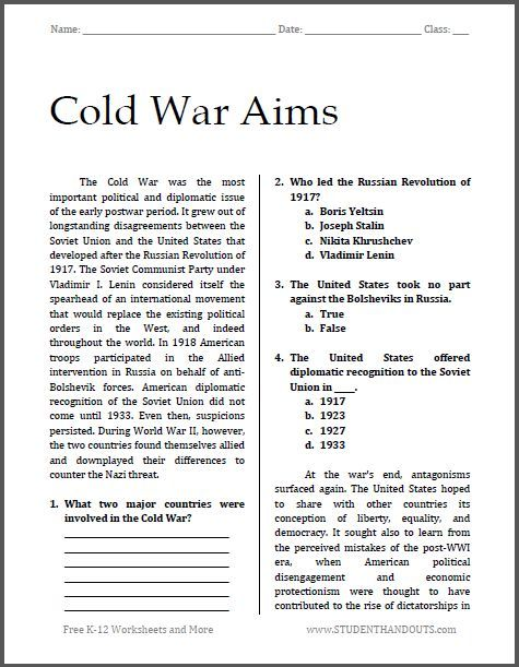 Worksheets Free History Worksheets cold war aims free printable worksheet for high school american history