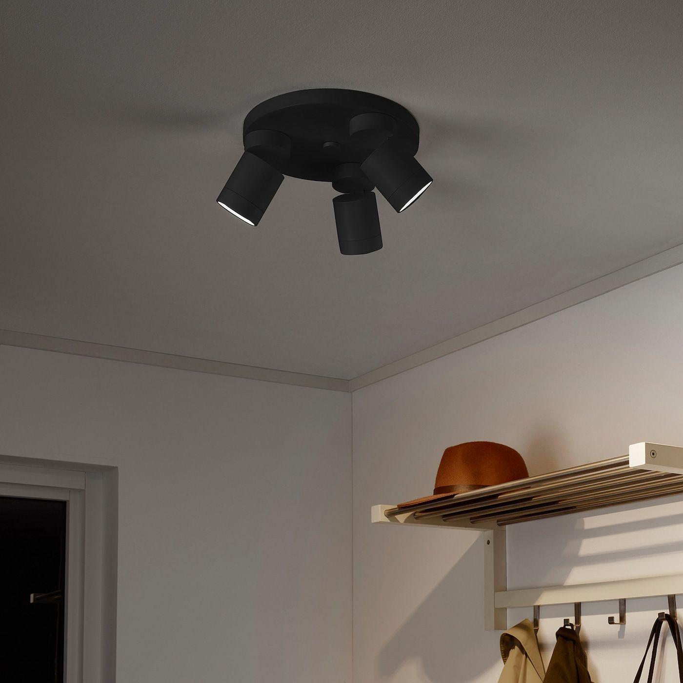 Nymane Ceiling Spotlight With 3 Lights Anthracite Ikea In 2020 Ceiling Spotlights Living Room Light Fixtures Room Lights