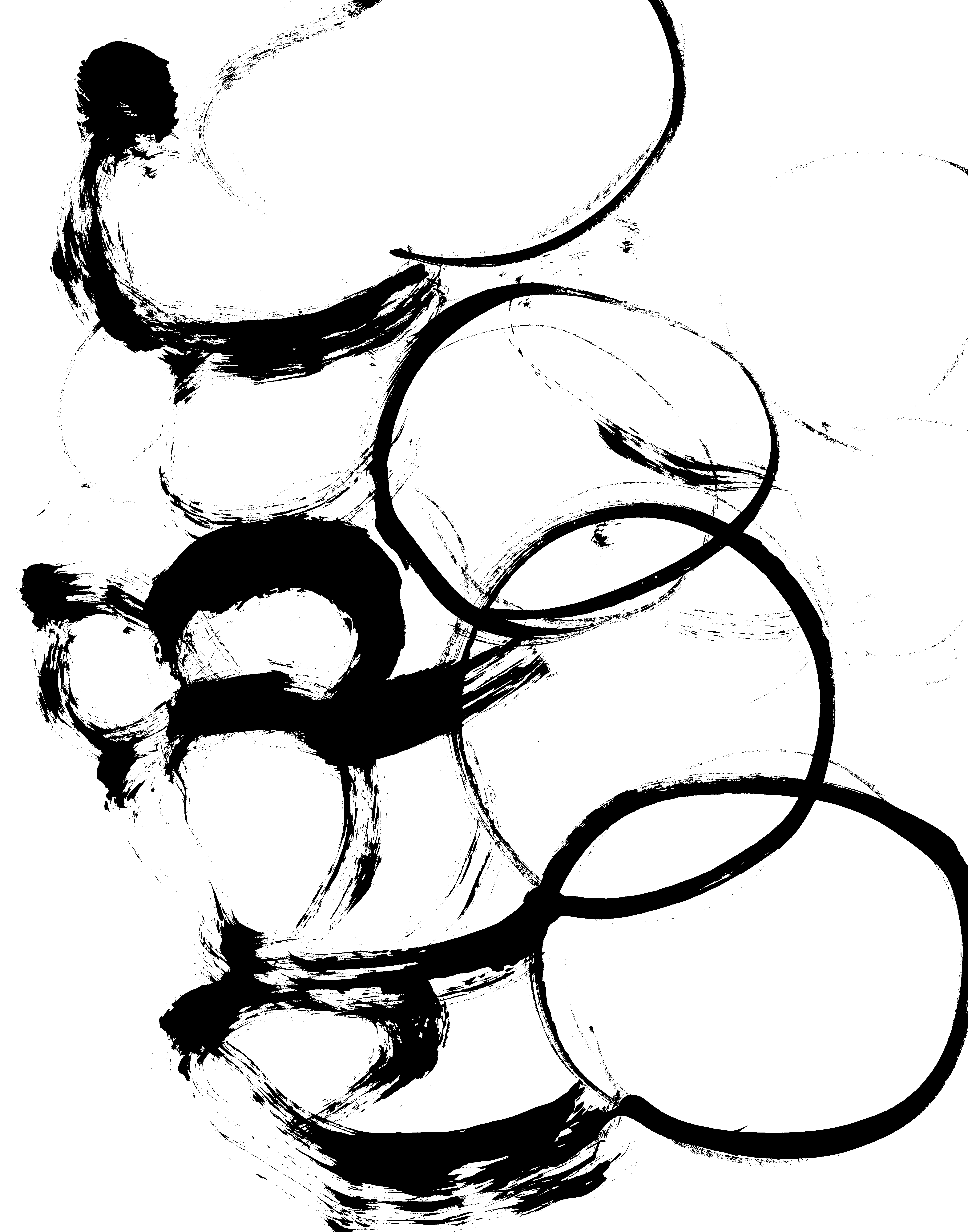 Black And White Printable Art Print B Amp W Brush Abstract