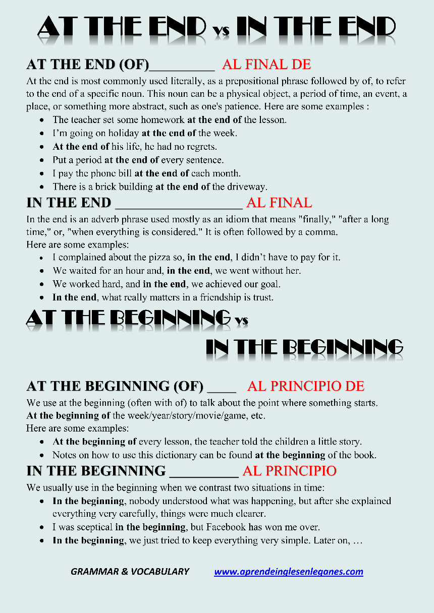 At The End Vs In The End At The Beginning Vs In The Beginning Advanced English Grammar Cambridge Englis English Grammar Learn English Learn English Vocabulary