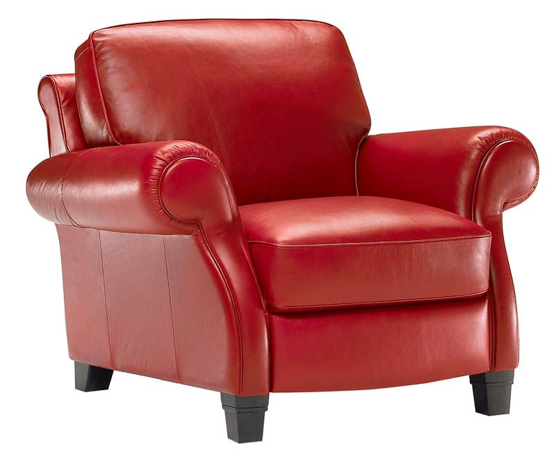 Red Italian leather armchairs from Natuzzi Italian leather