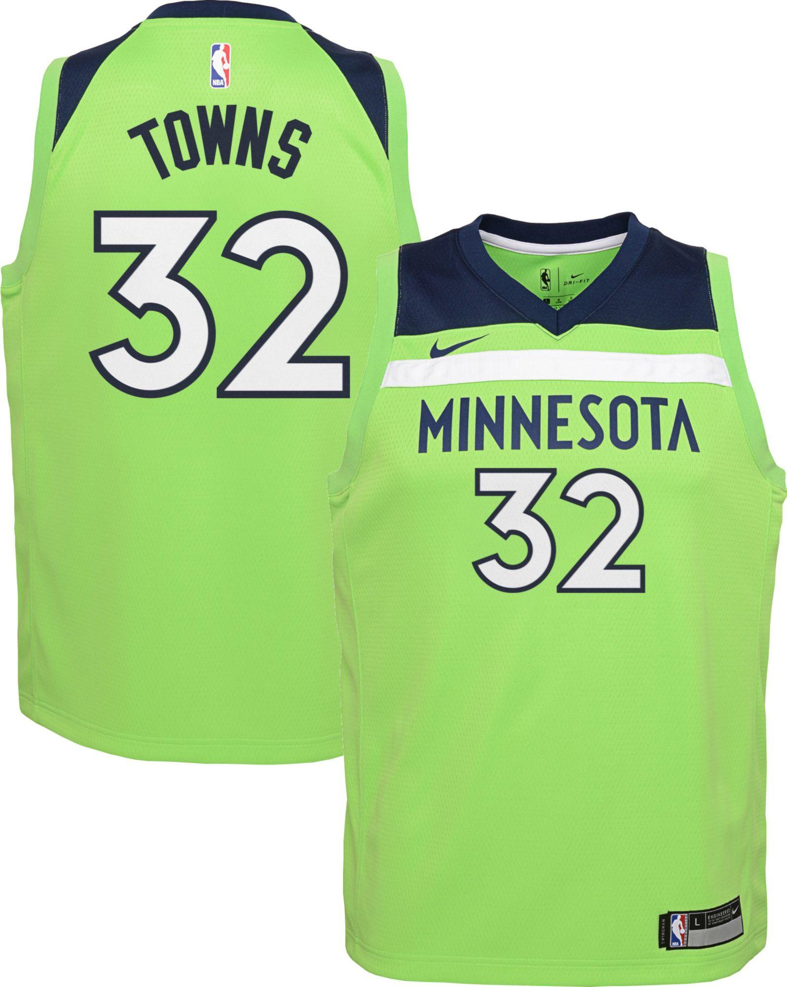 ce24bc0802eb Nike Youth Minnesota Timberwolves Karl-Anthony Towns  32 Green Statement  Dri-FIT Swingman Jersey