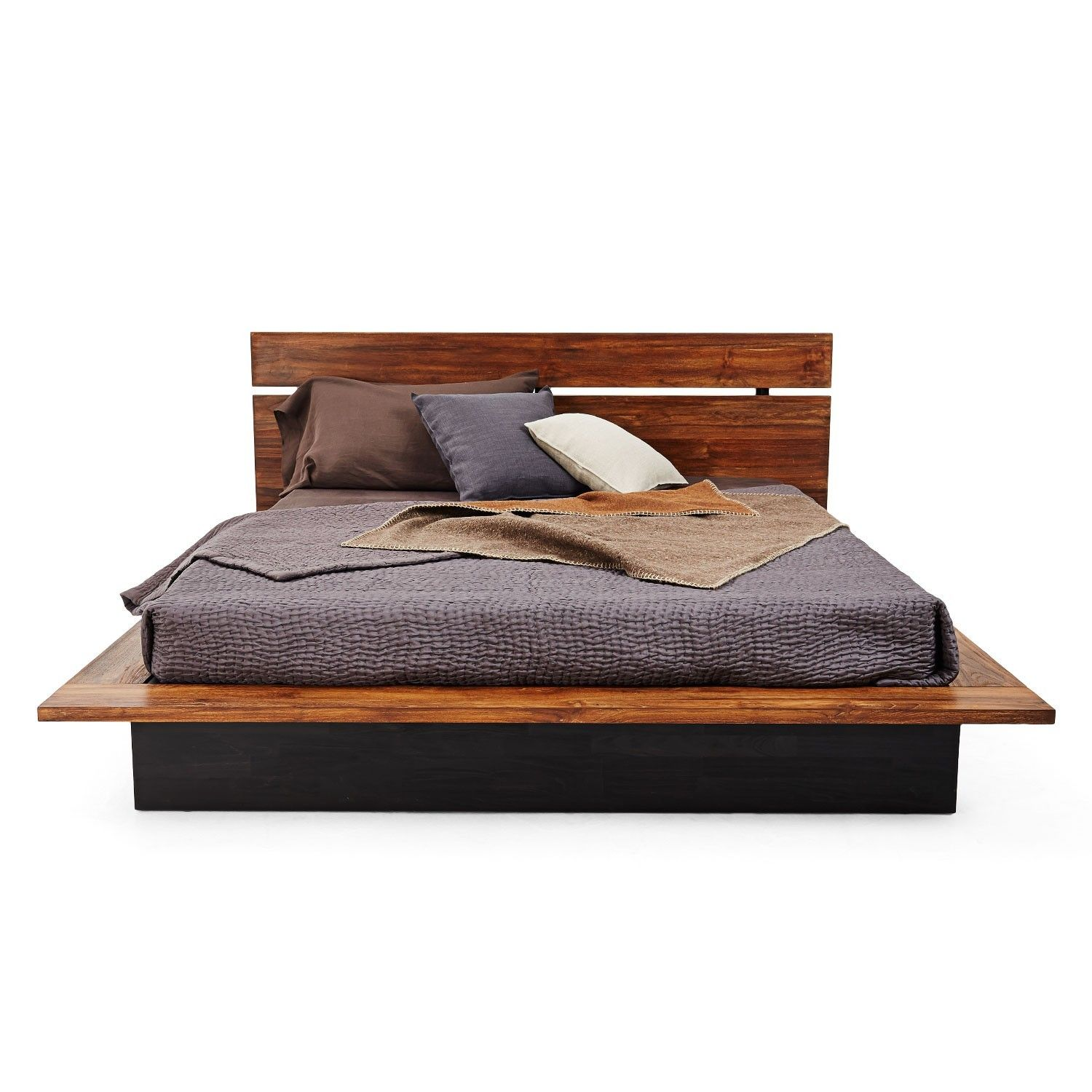 Modern Black Stained Teak Wood Bed Frame Mixed With Brown Lacquer Board Using Dark Gray Linen And Orted Color Cushions Endearing