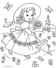 Easter Dress Coloring Page For Kid With Images Spring Coloring Pages Embroidery Patterns Vintage Vintage Coloring Books