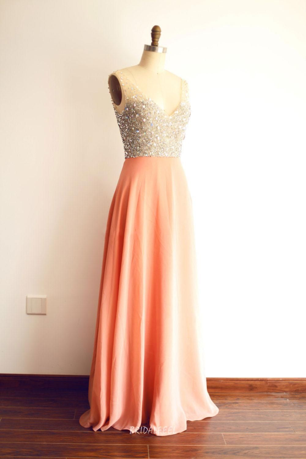 Peach chiffon long evening dress. Illusion V-neck sleeveless bodice ...