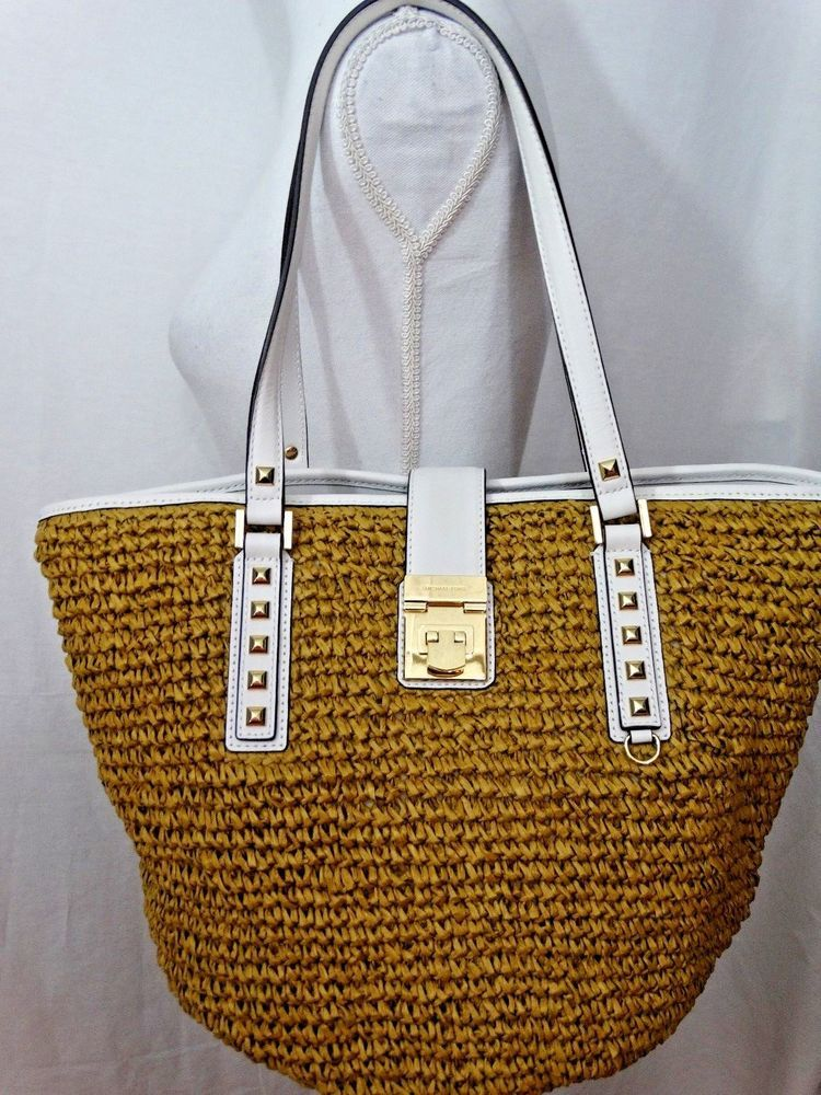 89b293c5816d NWT MICHAEL KORS CECELIA LARGE TOTE SHOULDER BAG STRAW NATURAL  White PURSE   MichaelKors  TotesShoppers