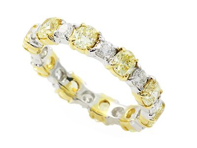 Amazing Fancy Yellow And White Diamond Eternity Band