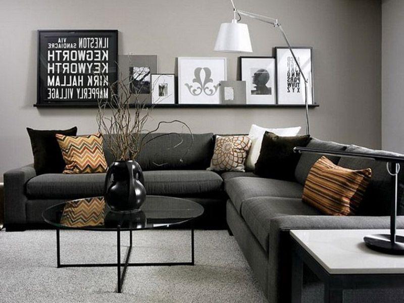 Pin By A Few Pennies More On Salon Dark Grey Living Room Black