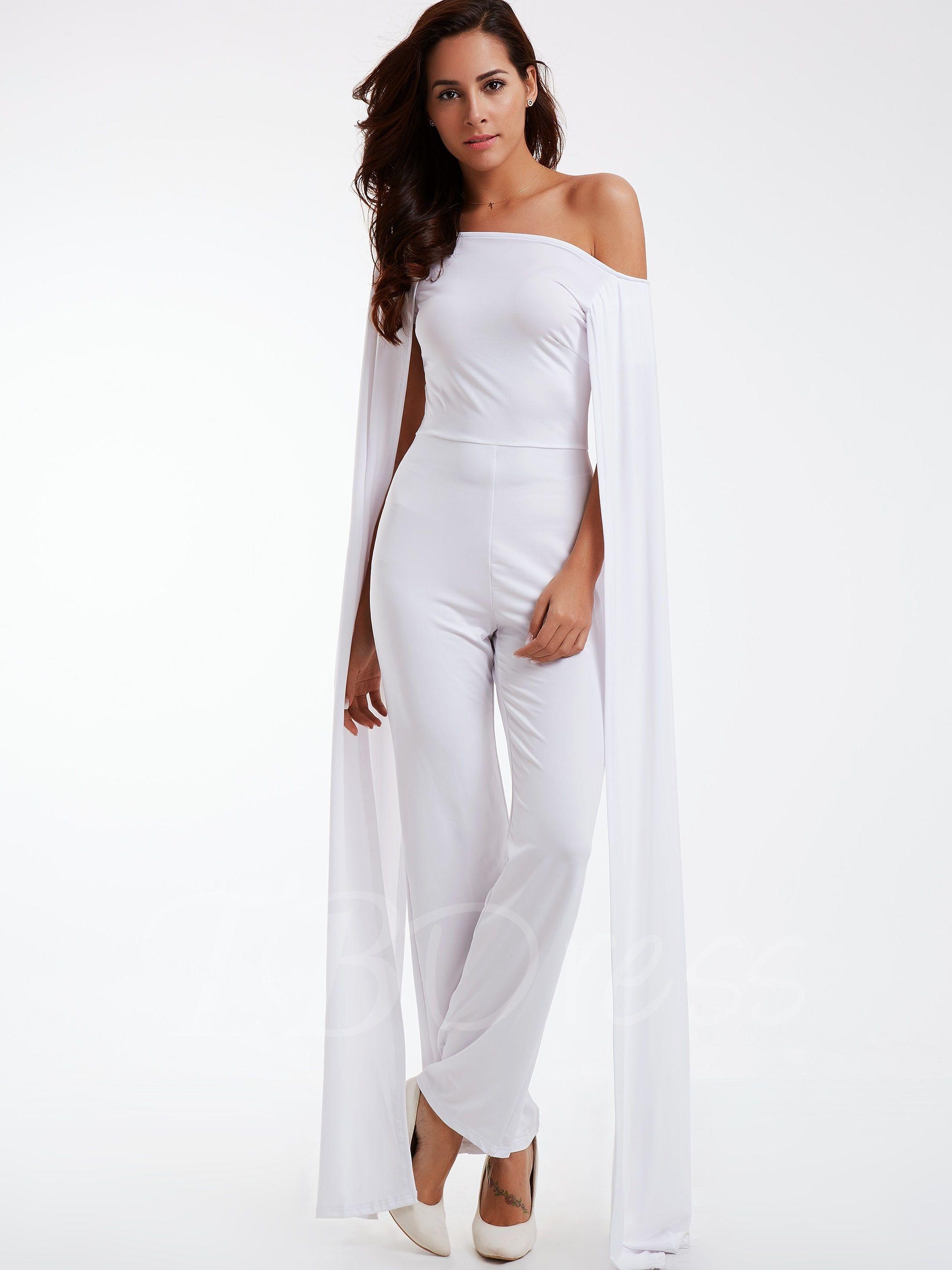White boat neck wide leg women 39 s pants suit boat neck for Women s dress pant suits for weddings