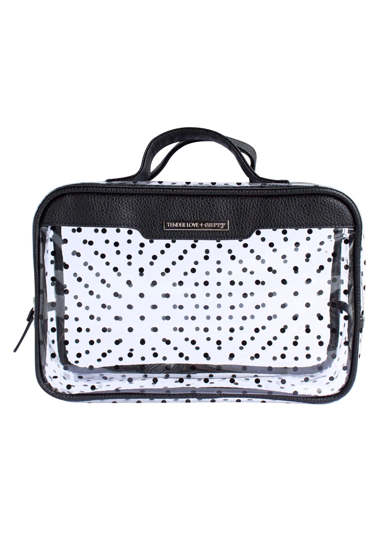 TL+C - Crystal Dot Traveller Black - Black/Clear - TL+C Cosmetic & Travel Bags - Onceit